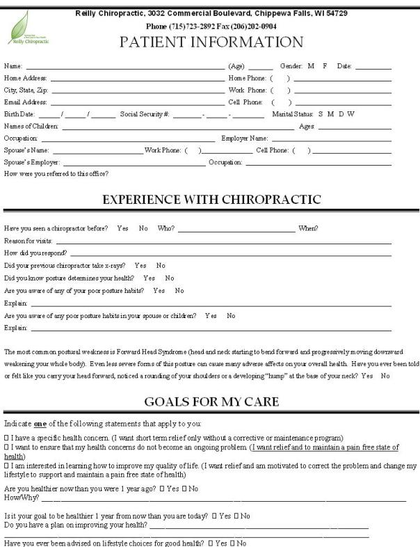 chippewa falls, wi chiropractor new patient packet image