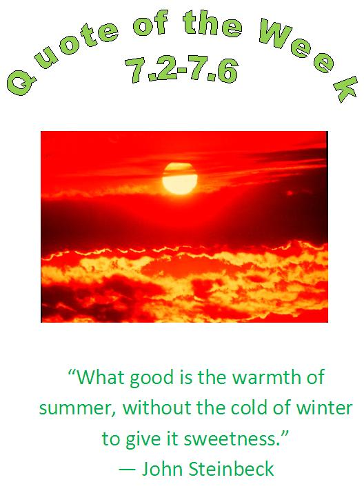 eau claire, wi chiropractor summer heat healthy quote of the week 7.2 - 7.6