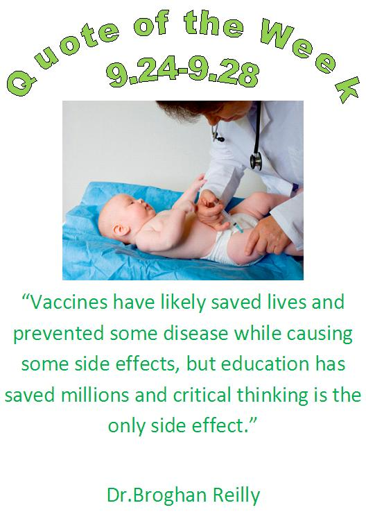 vaccination and education quote of the week 9.24 - 9.28 by eau claire, wi 54703 chiropractor