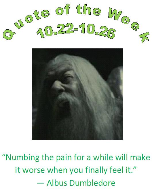 numbing and numbness pain quote of the week 10.22 - 10.26 by eau claire, wi 54703 chiropractor